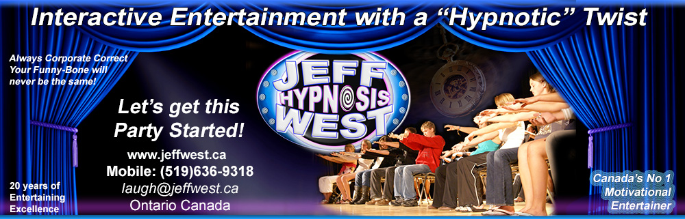 student activities promote Jeff West stage hypnosis